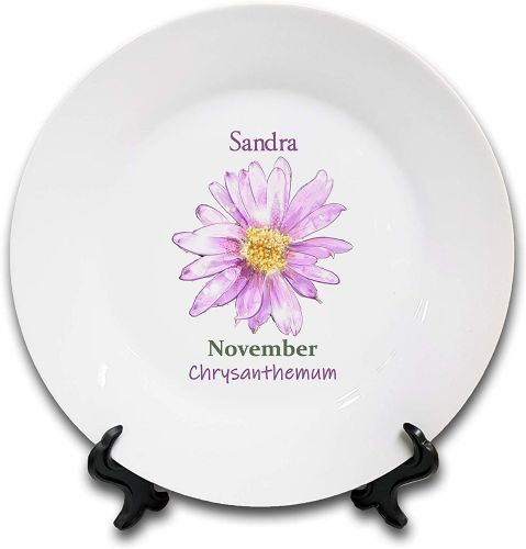 Personalised Flower of The Month November Novelty Gift Ceramic Plate & Stand